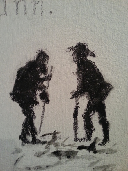Vapausrangaistukseen määrätyn opiskelijan puhutteleva piirros Tarton yliopiston karsserin seinällä.